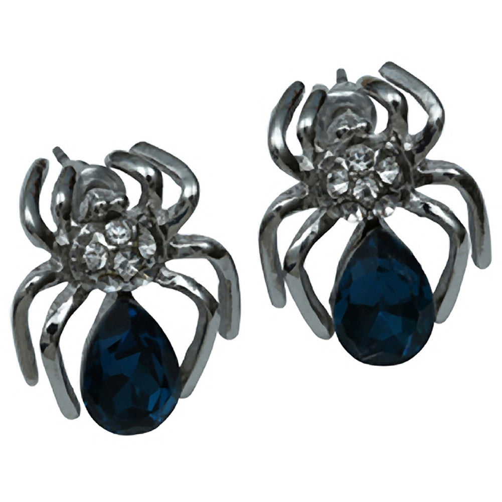 Kitsch N Kouture Gem Spider Earrings Teal Goth Punk Psychobilly Studs