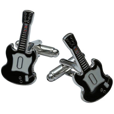 Kitsch N Kouture Guitar Cufflinks Silver Music Lover Rock N Roll