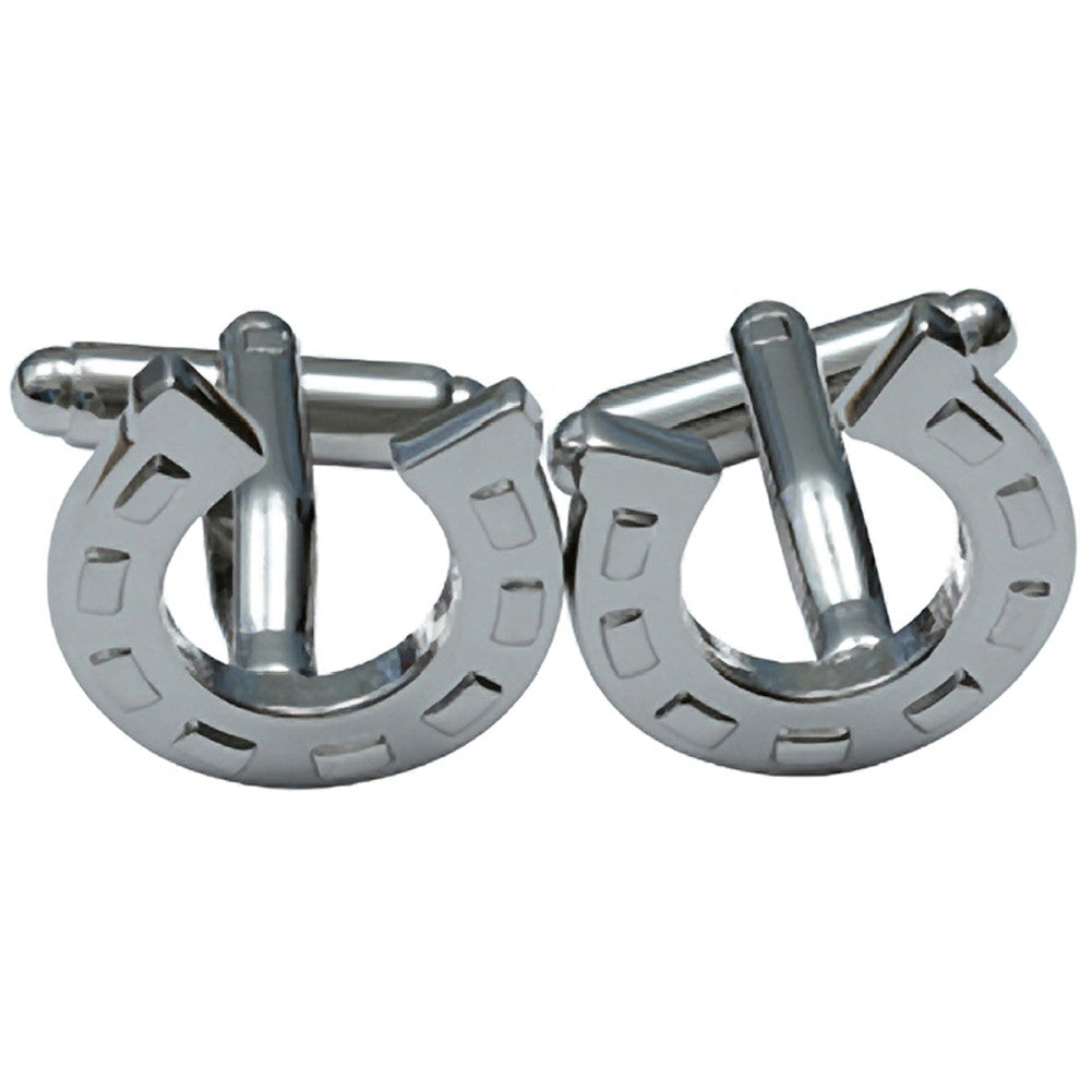 Kitsch N Kouture Horseshoe Cufflinks Silver Lucky Rockabilly