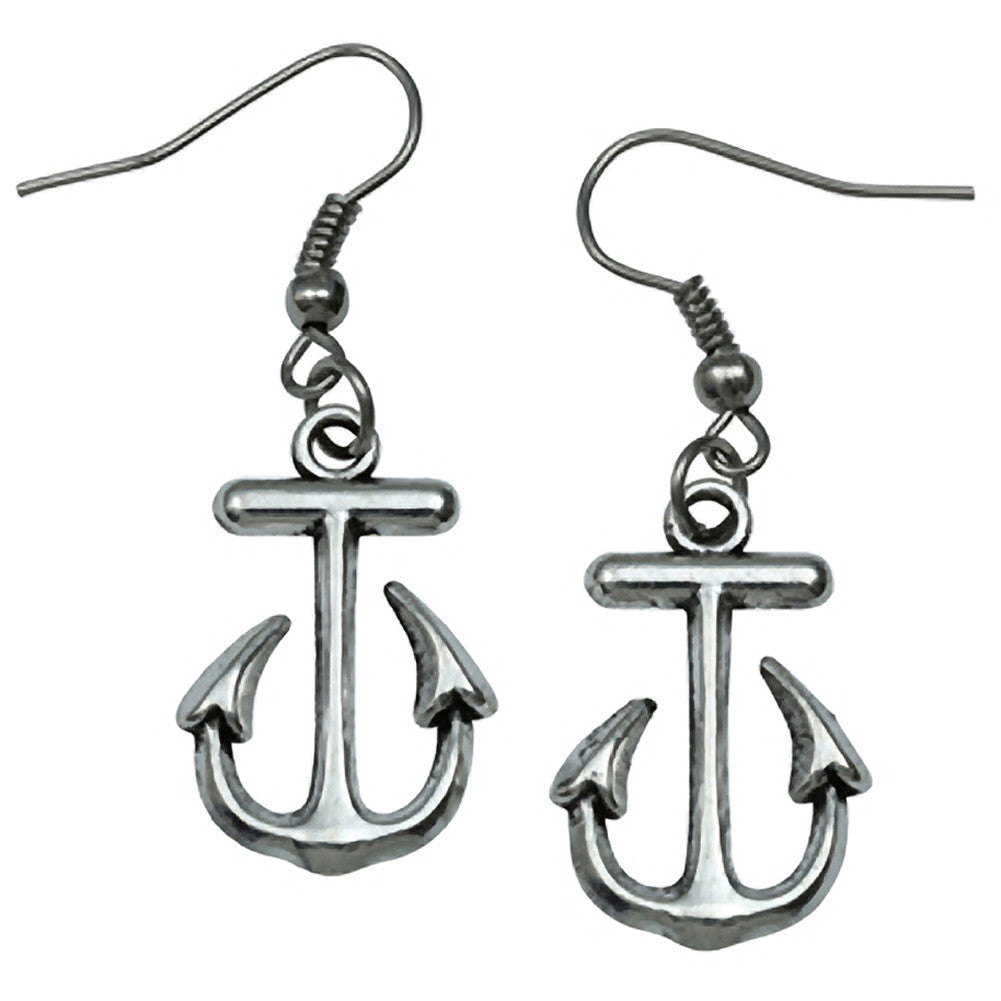 Kitsch N Kouture Little Anchor Earrings Silver Nautical Retro Rockabilly