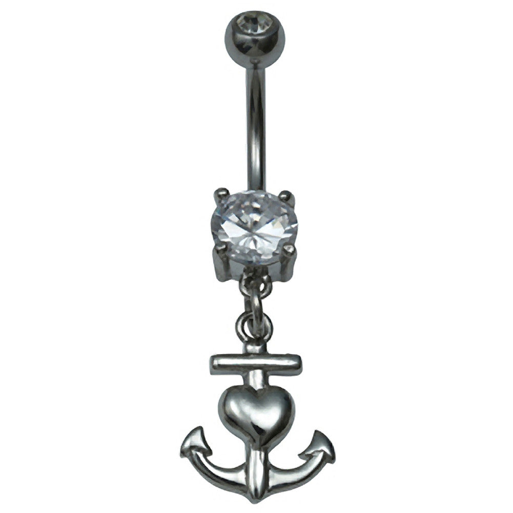 Kitsch N Kouture Love Anchor Navel Jewelry Belly Ring Silver Nautical Heart