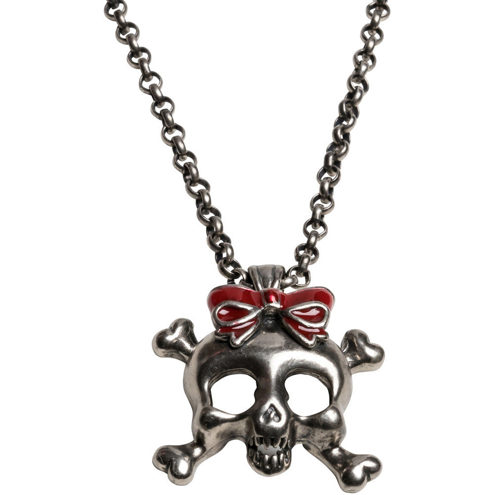 Kitsch N Kouture Mitch O' Connell Skull With Red Bow Necklace Crossbones