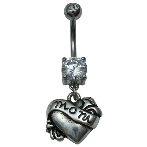 Kitsch N Kouture Mom Tattoo Navel Jewelry Belly Ring Silver Heart