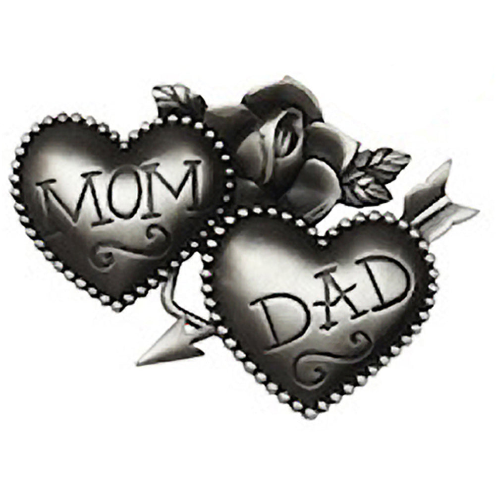 Kitsch N Kouture Mom and Dad Belt Buckle Tattoo Hearts Retro