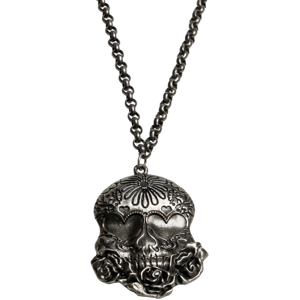 Kitsch N Kouture Sugar Skull Necklace Day of the Dead Tattoo Roses