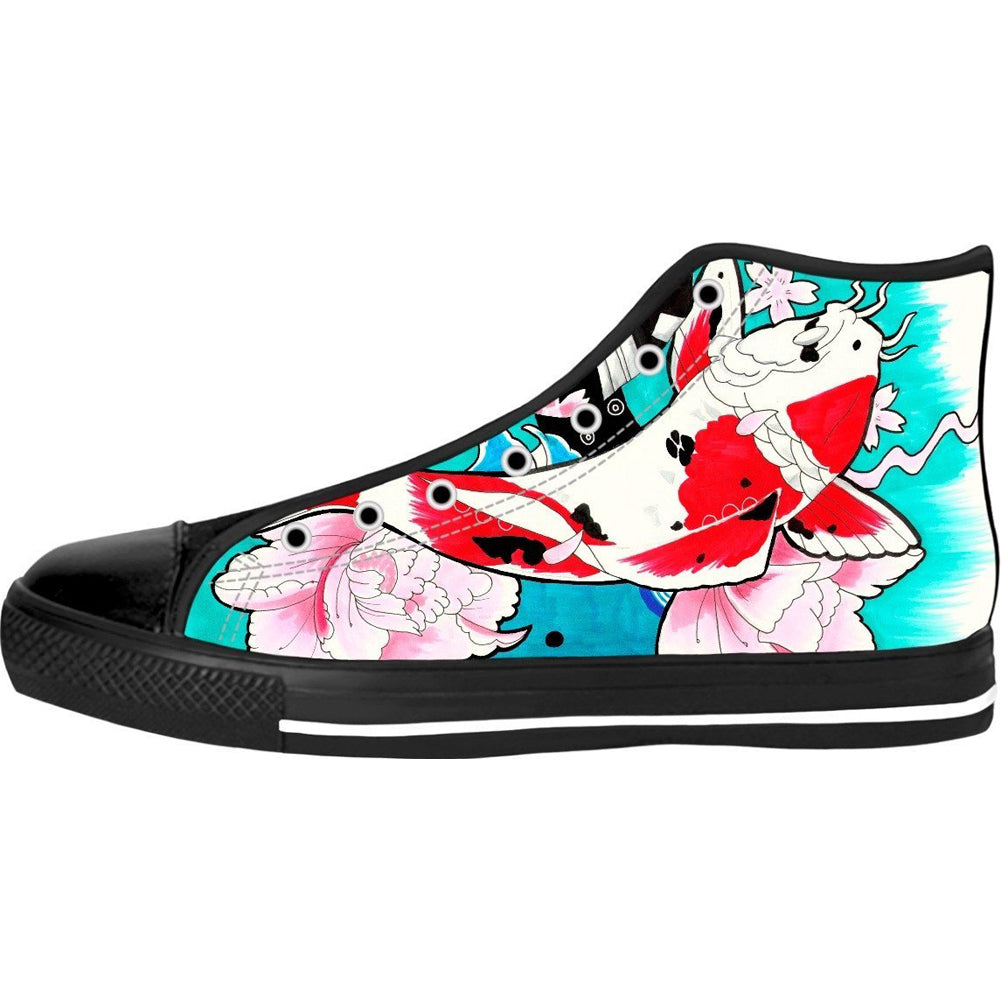 Unisex Koi Fish High Top Canvas Shoes
