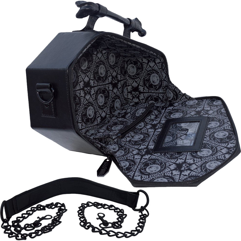 Kreepsville 666 Anatomical Skull Coffin Bag Goth Horror