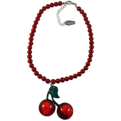 Kreepsville 666 Cherry Skull Necklace Red Rockabilly Psychobilly