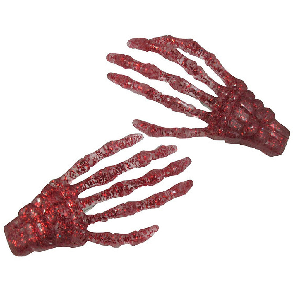 Kreepsville 666 Skeleton Bone Hand Hairslides Red Glitter Horror Psychobilly
