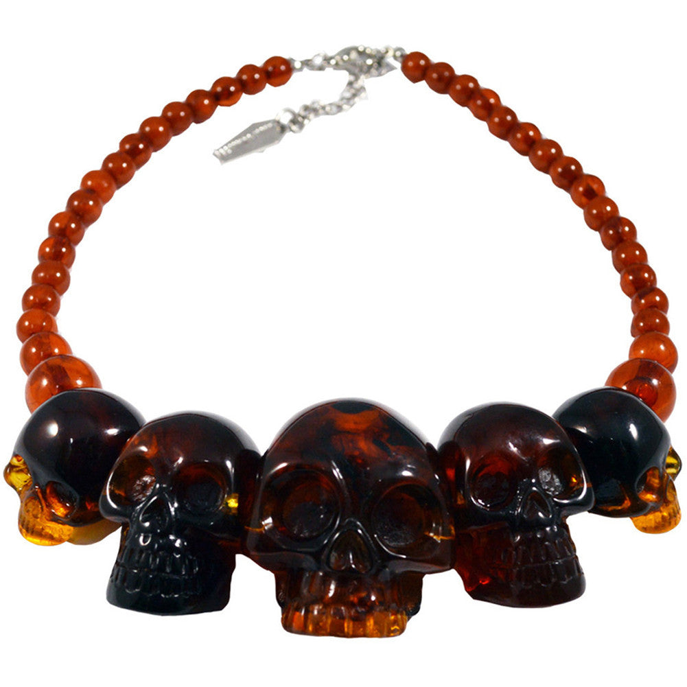 Kreepsville 666 Skull Collection Necklace Amber Psychobilly Horror