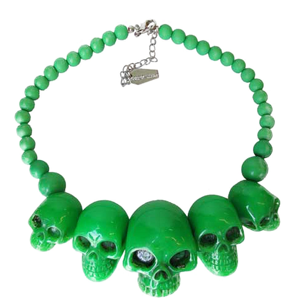 Kreepsville 666 Skull Collection Necklace Green Horror Halloween