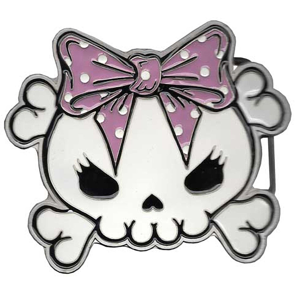 Kreepsville 666 Skully Bow Pink Belt Buckle Crossbones Psychobilly  Halloween