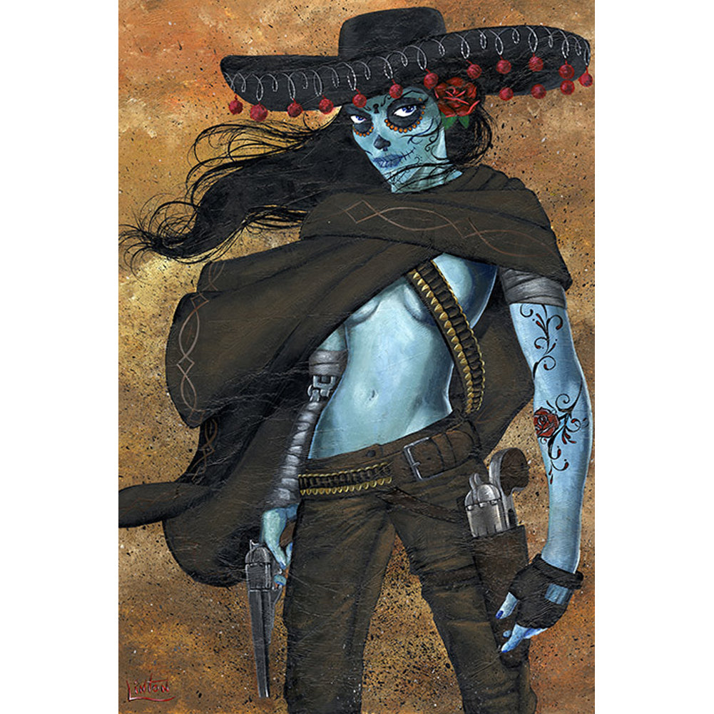 La Mujer Fine Art Print by JR Linton Day of the Dead Zombie Girl Sombrero Gun