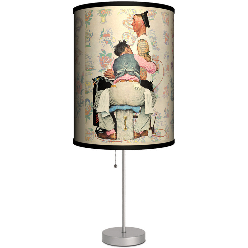 Lamp-In-A-Box Norman Rockwell Tattoo Artist Table Lamp Retro