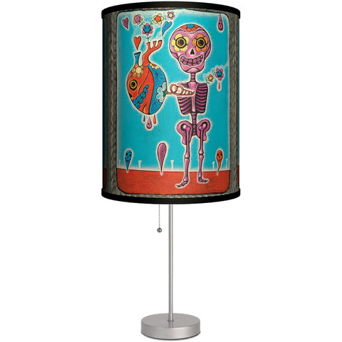 Lamp-In-A-Box Purple Skeleton Table Lamp Heart Day of the Dead Sugar Skull