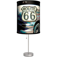 Lamp-In-A-Box Route 66 Table Lamp Classic Car Vintage Rockabilly