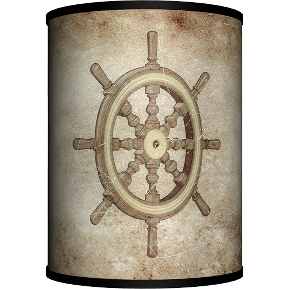 Lamp-In-A-Box Ships Wheel on Parchment Table Lamp Nautical