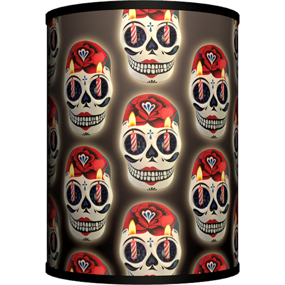 Lamp-In-A-Box Skull Candle Table Lamp Day of the Dead Sugar Skulls Tattoo
