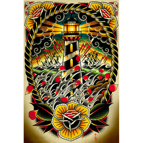 Last Port Fine Art Print by Tyler Bredeweg Tattoo Lighthouse Nautical Flowers
