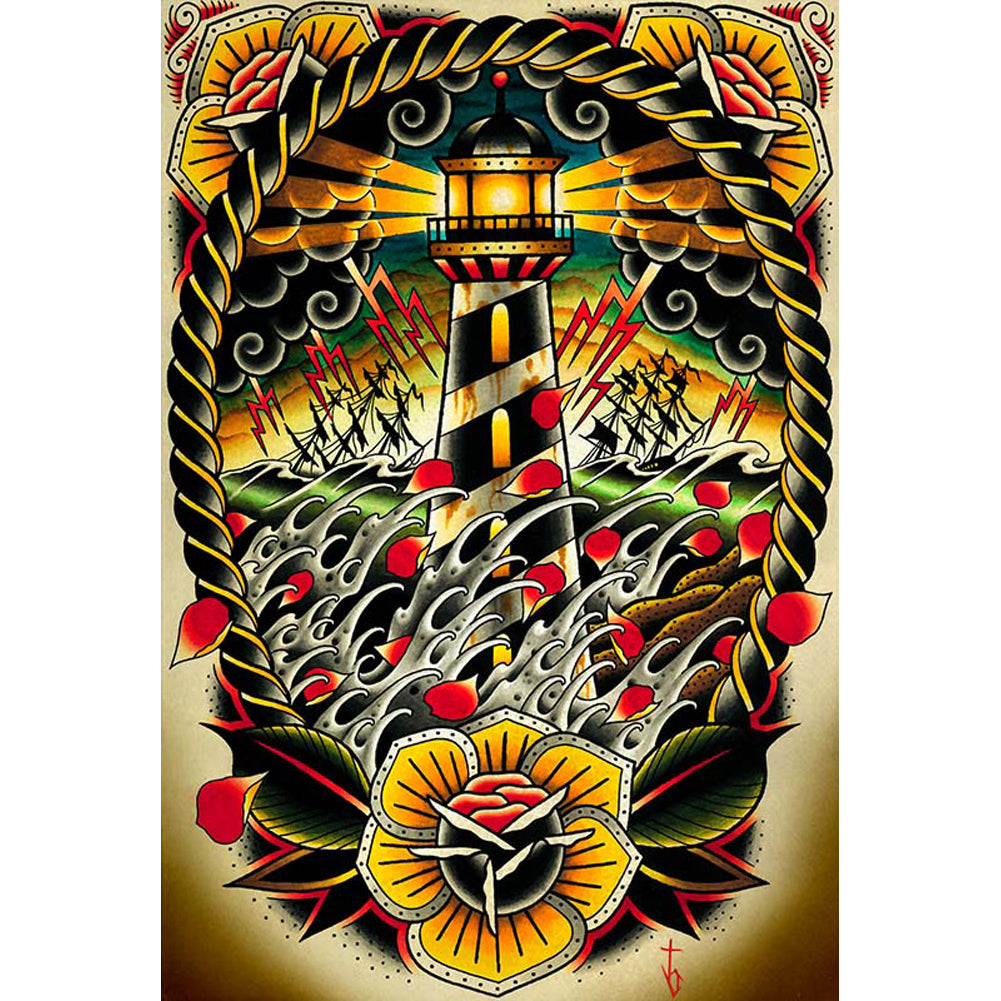Last Port by Tyler Bredeweg Canvas Giclee Traditional Tattoo Lighthouse Eagle