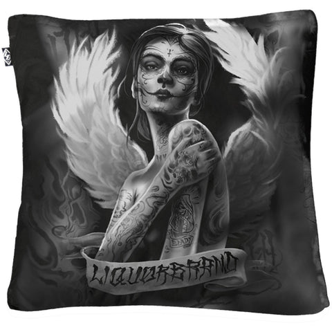 Liquor Brand Angelica Pillow Cover Sugarskull Day of the Dead Ink Tattoo
