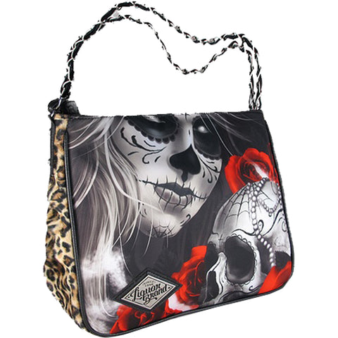 Liquor Brand Eternal Bliss Handbag Creepy Day of the Dead Leopard Print