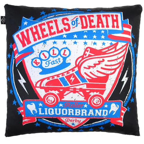 Liquor Brand Wheels of Death Pillow Cover Roller Derby Brass Knuckles Tattoo Ink