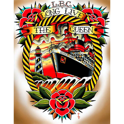 Long Live the Queen by Tyler Bredeweg Canvas Giclee Traditional Tattoo Ship Art