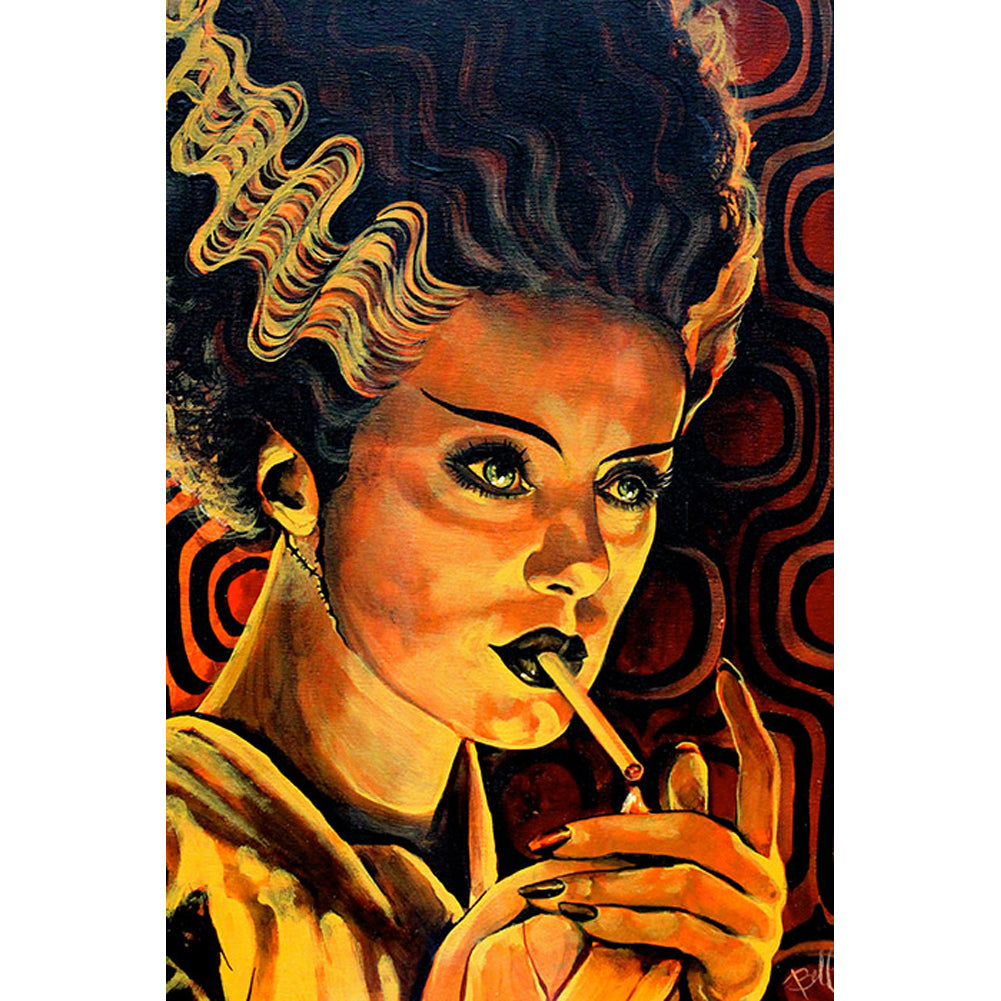 Looking for Monster Love Fine Art Print by Mike Bell Frankenstein Bride Smoking
