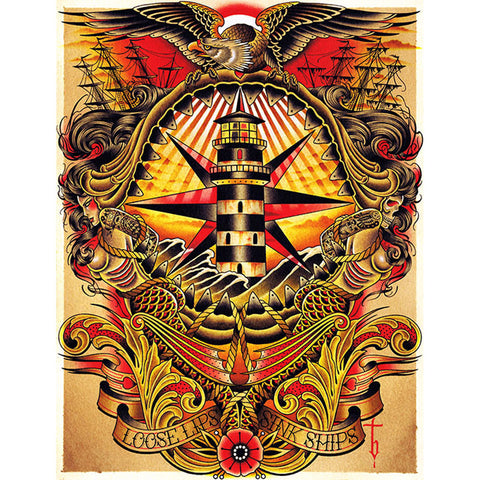 Loose Canvas Giclee by Tyler Bredeweg American Traditional Nautical Tattoo Art