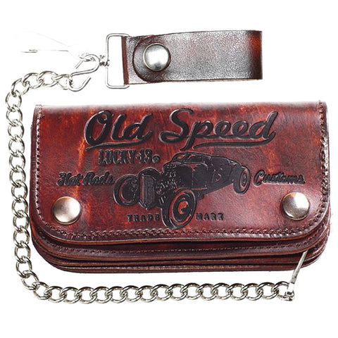 "Men's Lucky 13 Old Speed Embossed 6"" Chain Wallet Brown Rat Rod Kustom Kulture"
