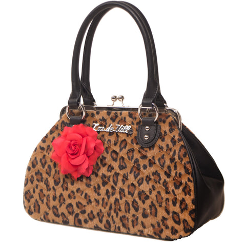 Lux De Ville Black Dahlia Kiss Lock Brown Leopard Handbag Retro Rockabilly Pinup