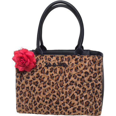 Lux De Ville Black Dahlia Tote Brown Leopard Retro Rockabilly Pin Up Vintage