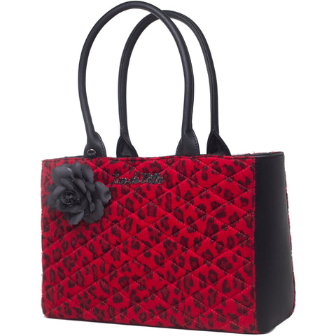 Lux De Ville Black Dahlia Tote Red Leopard Retro Rockabilly Pin Up Vintage