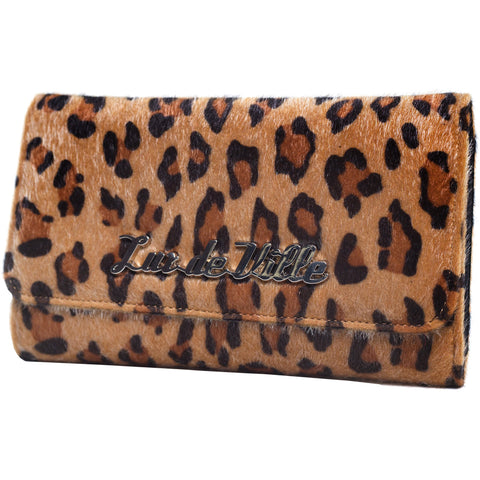 Lux De Ville Black Dahlia Wallet Brown Leopard Retro Rockabilly Pin Up Vintage