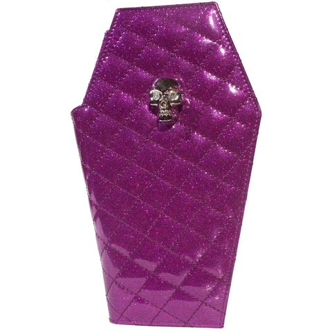 Lux De Ville Elvira Coffin Wallet Clutch Electric Purple Sparkle Psychobilly
