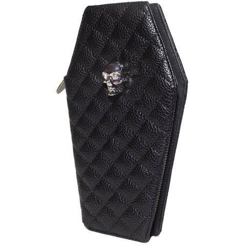 Lux De Ville Elvira Coffin Wallet Clutch Matte Black Goth Gothabilly Psychobilly
