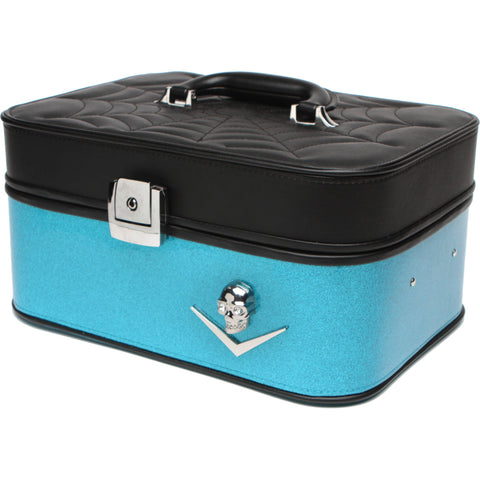Lux De Ville Elvira Train Case Matte Black & Villain Blue Sparkle Spiderweb