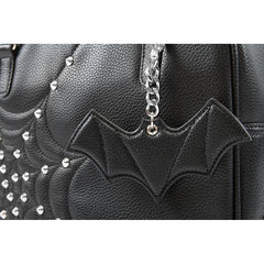 Lux De Ville Evil Garden Tote with Matte Black Bat Bauble Spiderweb Studs Goth