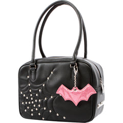 Lux De Ville Evil Garden Tote with Pink Bubbly Bat Bauble Spiderweb Pastel Goth