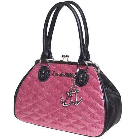 Lux De Ville Hold Fast Kiss Lock Black Matte / Pink Bubbly Sparkle Handbag Retro