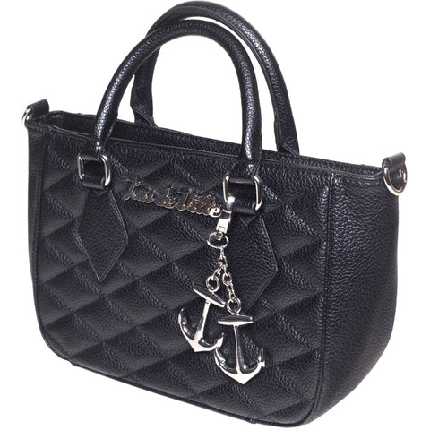 Lux De Ville Hold Fast Mini Tote Black Matte Retro Rockabilly Pin Up Vintage