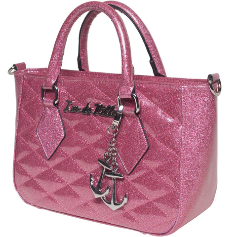 Lux De Ville Hold Fast Mini Tote Pink Bubbly Sparkle Retro Rockabilly Pin Up