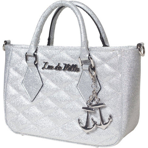Lux De Ville Hold Fast Mini Tote Silver Thunderstruck Sparkle Retro Rockabilly