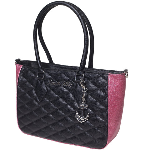 Lux De Ville Hold Fast Tote Black Matte & Pink Bubbly Sparkle Retro Rockabilly