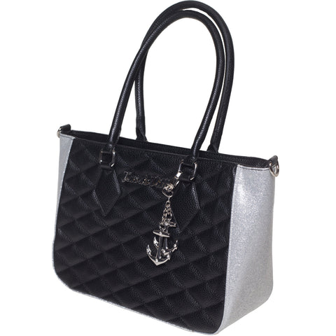 Lux De Ville Hold Fast Tote Black Matte and Silver Thunderstruck Sparkle Retro