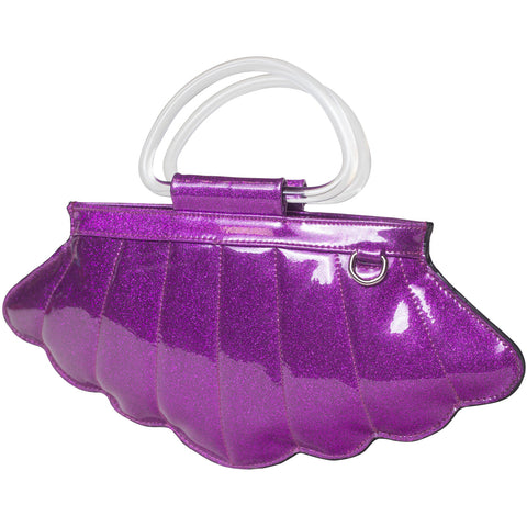 Lux De Ville Mermaid Mini Tote Electric Purple Sparkle Shell Nautical Retro