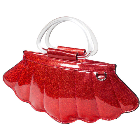 Lux De Ville Mermaid Mini Tote Venom Red Sparkle Shell Nautical Retro Rockabilly