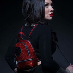Lux De Ville Mini Sweetheart Backpack Venom Red Sparkle
