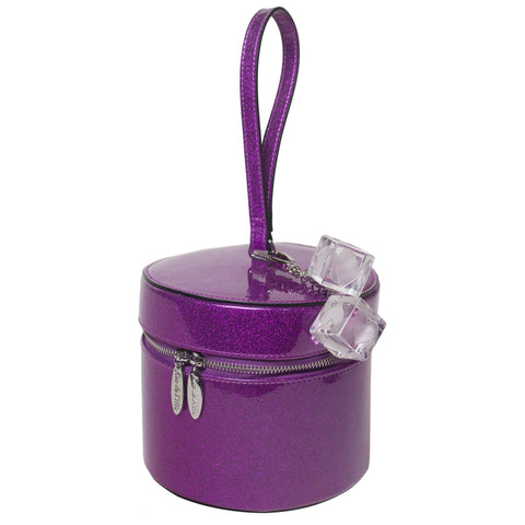 Lux De Ville Mini Taylor Hat Box Electric Purple Sparkle Retro Vintage Pin Up